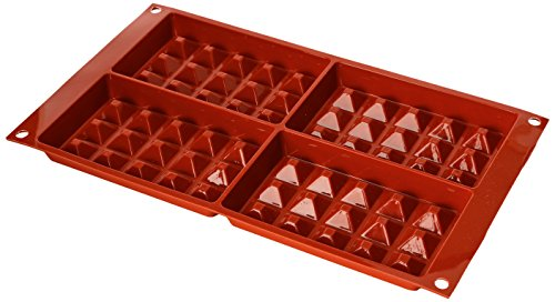 Silikomart 26.155.00.0060 SF155 Moule Forme Gaufre Taille Grande 4 Cavités Silicone Terre Cuite
