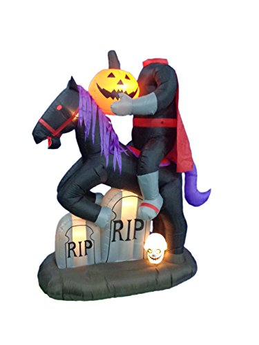 6.5 Foot Tall Lighted Halloween Inflatable Headless Horseman with Pumpkin Lights Decor Outdoor Indoor Holiday Decorations, Blow up Lighted Yard Decor, Giant Lawn Inflatables Home Family Outside