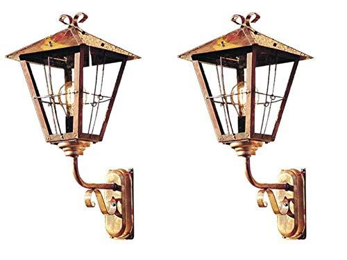Konstsmide Lot de 2 Applique murale extérieure/Lanterne Fenix, cuivre massif/Verre Acrylique fumé, 433–900
