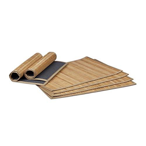 Relaxdays Tischset 6 teilig, Platzdeckchen, Bambus, Rutschhemmende Unterseite, 30 x 45 cm, 6er Platzset, 6 Tischmatten, abwischbar, Natur