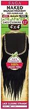 Saga NAKED 100% Brazilian Virgin Remy 4x4 Lace Closure - Straight 12