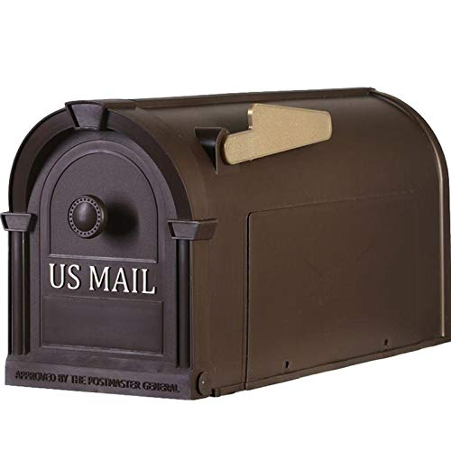 Plastic Mailbox Durable Large Mail Box Gold Lettering Bronze - mailboxes for Outside - Large Mailbox - Mailbox in Bronze with Gold Lettering