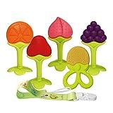 Beißring für Babys Baby Zahnungshilfe Kühlend Zahnen Spielzeug Zahnungshilfe Weich mit Schnuller Clip für Kleinkind Säugling Jungen Mädchen (JRBT-FS003) BPA Frei