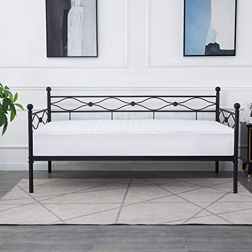Daybed Frame, Twin Size Multi-Functional Metal Platform with Headboard,Premium Sofa Frame,Matte Black Finish/Mattress Foundation for Guest Living Room (Summer Day Bed)