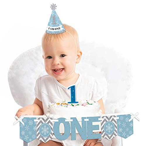 Big Dot of Happiness Onederland 1st Birthday - First Birthday Boy Smash Cake Decorating Kit - Winter Wonderland High Chair Decorations