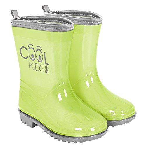 Botas de Agua para Niño y Niña Verde Reflectantes - Botines Impermeables Infantiles Suela Antideslizante y Colores de Alta Visibilidad - Perletti Cool Kids (22/23, Verde)