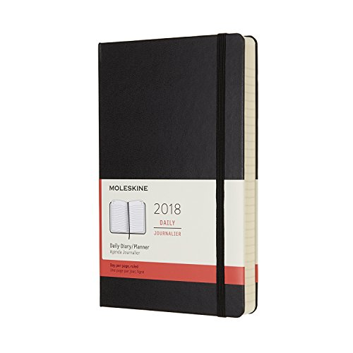 Moleskine 12 Month Daily Planner, Large, Black, Hard Cover (5 x 8.25)