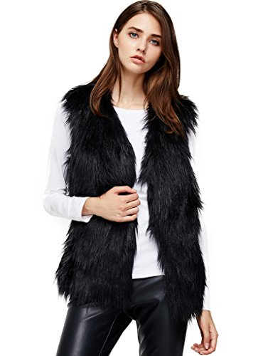 ANNA&CHRIS Womens Soft Sleeveless Faux Fur Vest Gradient Waistcoat Jacket, Black, Large