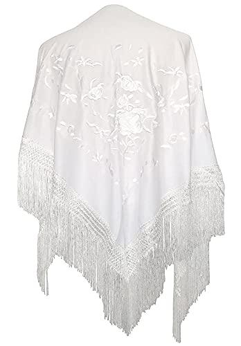 AMINA Mantón pico blanco de flamenco con flecos. Bordado blanco a una cara. Medida Grande 190X90cm