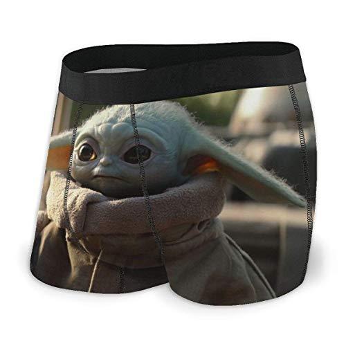 DWEO0JDWK Star War Yoda Baby Herren Baumwolle Soft Boxershorts 2 Pack-X-Large Black