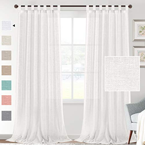 H.VERSAILTEX Linen Sheer White Curtains 95 Inch Length - Semi Sheer Tab Top Curtain Sets for Living Room/Bedroom Privacy and Sunlight Filtering, 2 Panels