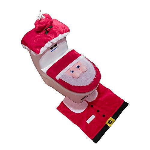 Chranto 3PCS Fancy Santa Funda de asiento de inodoro y alfombra Juego de baño Decoración navideña