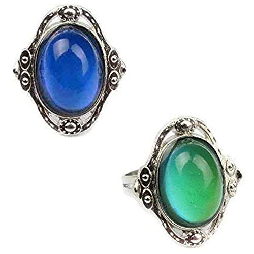 Carykon 2 PCS Oval Mood Ring Retro Style Adjustable Finger Ring for Lovers Friends-One Size fits All