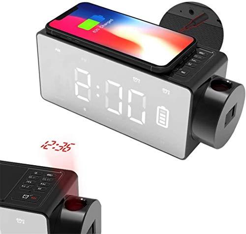 HAOHAO Qi Alarma de Carga inalámbrica, Bluetooth Manos Libres del teléfono del Coche del Espejo del Reloj, Fuera de Alarma de Reloj Proyecto de Radio FM, Reloj Despertador Tabla de bricolaj.