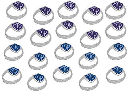 H14PR - H14B Size Adjustable 20 Pack Purple and Blue CTR Ring Mormon LDS Unisex One Moment In Time