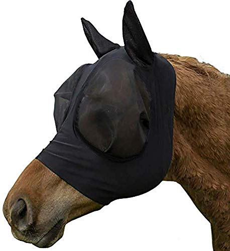Elastic Horse Fly Mask with Ears Lycra Breathable Mesh Visible Cover Protects Eyes Ears from Insects Dust Mosquitoes Comfort Fit UV Protection Equestrian Equipment for Horses Black