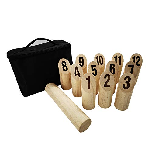 Patioline Rubberwood Number Viking Kubb Set - Outdoor Wooden Throwing Game Giant Yard Lawn Game for Adults Family