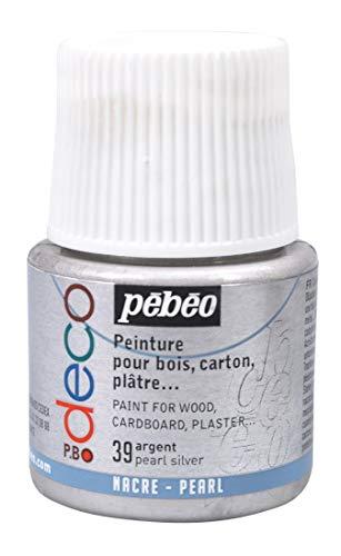 Pébéo 285039 39 Pearl Silver - Pintura acrílica (Mate, 45 ml), Color Plata Perla