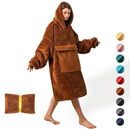 Oversized Blanket Sweatshirt,Comfortable Giant Hoodie Blanket for Women Men Aduls,Sherpa Sweatshirt Blanket with Pocket Sleeves, Super Soft Warm Big Hoody Wearable Blanket,Hoddie Blanket Sweatshirt