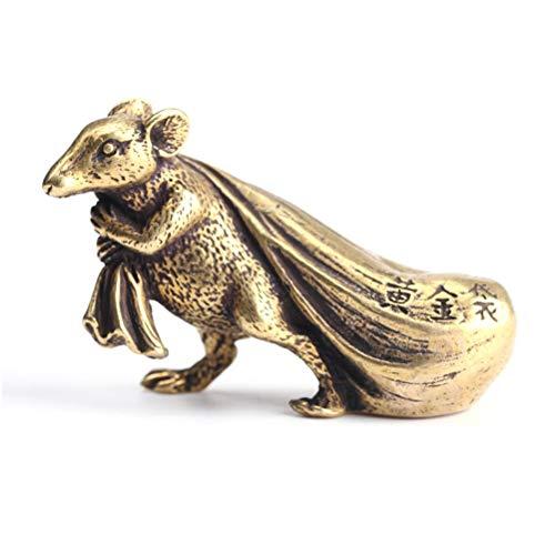 Kawosh Rats figuur Chinese sterrenbeeld gemaakt van messing goud gekleurde Rat decoratieve ornamenten miniatuur figuur decoratie5.5 * 3.5 * 1.9 cm