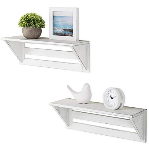 MyGift Set of 2 Vintage White Wood 17-Inch Wall-Mounted Shelves