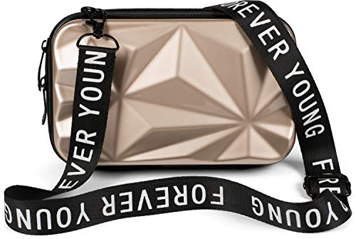 styleBREAKER Damen Multifunktion Umhängetasche 3-D Prisma Oberfläche mit Reißverschluss, Crossbody Bag, Case 02012324, Farbe:Hellgold