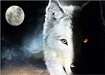 New 5D Diamond Painting Kits for Adults Kids Awesocrafts Black and White Wolf Moon Full Drill DIY Diamond Art Embroidery Paint by Numbers with Diamonds  Wolf