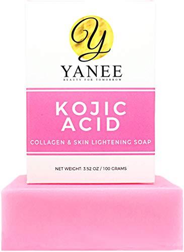 Kojic Acid & Collagen Soap Bar for Dark Spots 3.52 oz | Reduces Acne Wrinkles Freckles | Face & Body Wash for Women