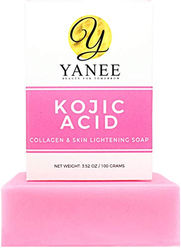 Kojic Acid & Collagen Soap Bar for Dark Spots 3.52 oz | Reduces Acne Wrinkles Freckles | Face & Body Wash for Women