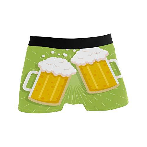 Herren-Boxershorts, Unterwäsche, atmungsaktiv, dehnbar, Geschenkidee für Jugendliche, Jungen, glitzernd, Hellklee, Bier - - X-Large