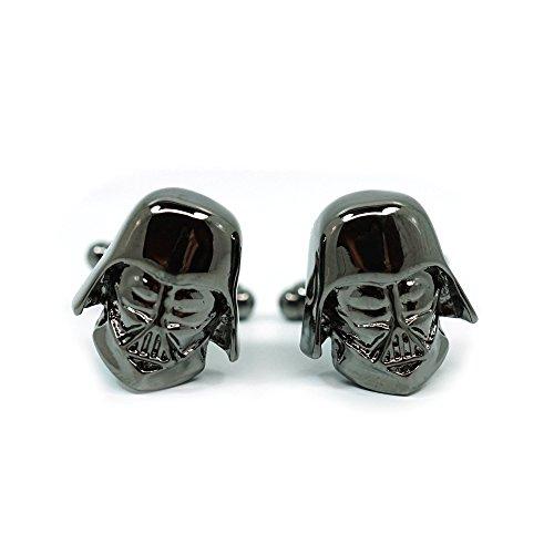 Teri's Boutique Herren-Manschettenknöpfe Star Wars Darth Vader Kopf Dunkelgrau Gunmetal mit Box