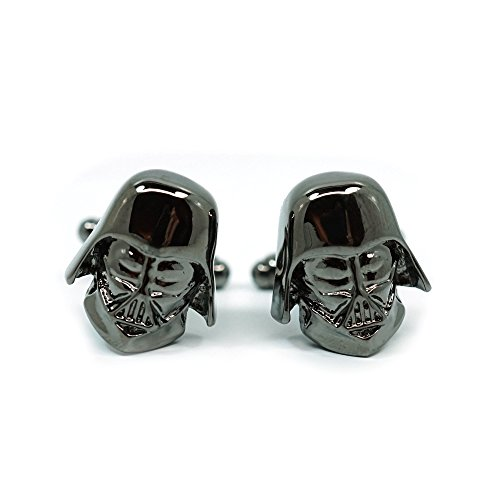 Teri's Boutique Men's Jewelry Star Wars Darth Vader Head Dark Gray Gunmetal Cufflinks Pair w/Gift Box