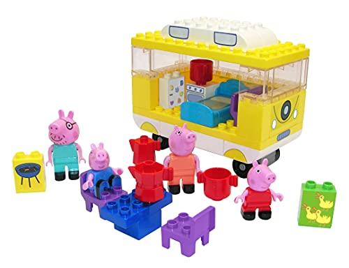 BIG spielwarenfabtik Peppa Pig Peppa's-Set di Costruzioni Big-Bloxx Composto da Famiglia e Camper, 54 Pezzi, per Bambini dai 18 Mesi in su, 800057145