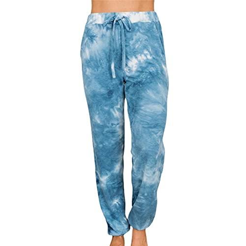 WXMSJN OtoñO E Invierno Bolsillos con Estampado Tie-Dye Pies PequeñOs Linterna Pantalones Casuales Pantalones De Mujer