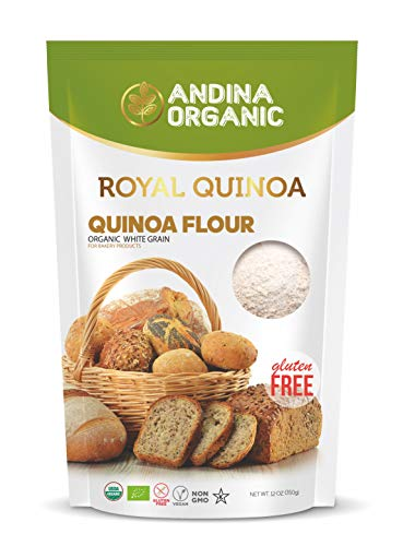 Andina Organic Royal Quinoa Flour | Gluten Free Flour for Baking Treats & Snacks | Non GMO & Kosher Certified | Protein Rich Flour (12oz pack)