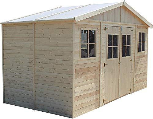 TIMBELA Holz Gartenschuppen - Abstellkammer mit Fenstern - H246 x 418 x 220 cm/ 8 m² Naturholz-Shiplap-Schuppen - Gartenwerkstatt - Fahrrad- Geräteschuppen M332