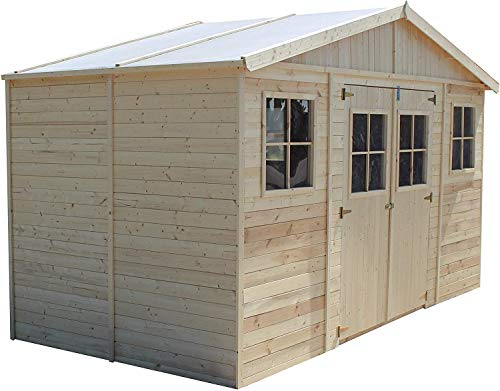 TIMBELA Wooden Garden Shed - Outdoor Storage with Windows - W14ft x D7ft x H8ft Timber Shiplap Shed - Garden Workshop - Bike, Tool Shed Storage M332
