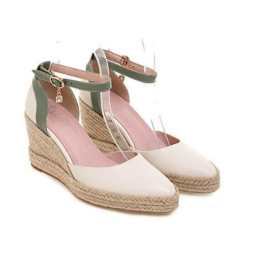 LIUJUN-WEI Tacones Altos Puntiagudos, Plataforma de Plataforma A Prueba de Agua, Zapatos de Mujer con Toe Tejido de Punta de Hebilla de Una Línea, Sandalias de Cuña para Mujeres de Verano