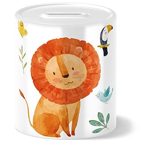 OWLBOOK Hucha con diseño de león de safari, regalo para niños, para cumpleaños, Navidad, graduación, bautizo, nacimiento, hucha