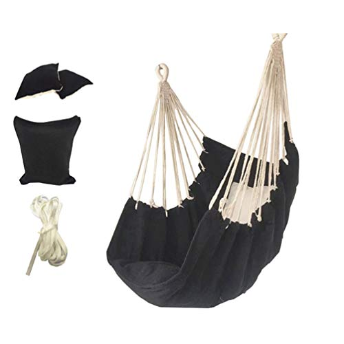 N / A Garden Striped Hanging Chair - Home Living Swing Hammock Chair - Outdoor/Indoor Hammock with Cushioned Seat