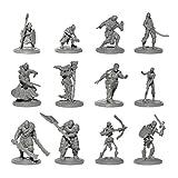 Origin Miniatures Enemy Minions Battle Pack, 36 Unpainted Miniatures with Protective Case, 6 Fantasy Races: Orcs, Dark Elves, Zombies, Skeletons, Bandits, Goblins, 12 Unique Characters