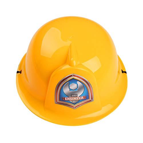 iiniim Kinder Helm Schutzhelm Feuerwehrmann Polizei Ingenieur Bauhelm Spielhelm aus Kunststoff Rollenspiel Spielzeug Gelb Einheitsgröße
