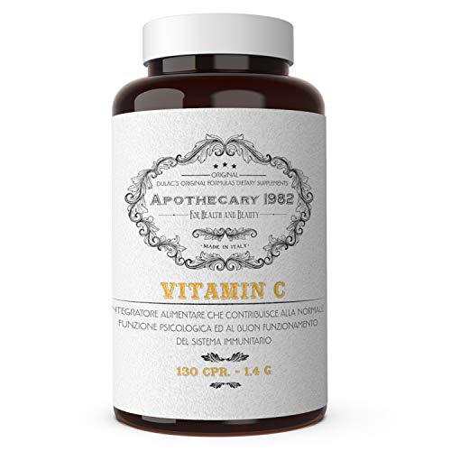 Dulàc VITAMIN C, 130 cpr, Vitamina C, 1000 mg, Para reforzar el sistema inmunitario y combatir la gripe, 100% Made in Italy, Apothecary 1982