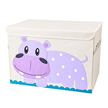 Bagnizer Collapsible Large Toy Chest with Flip-top Lid Animal Fabric Toy Storage Bin/Box/Organizer/Basket for Girls Boys Baby Toddler Nursery and Playroom 20''x14''x14'' Hippo