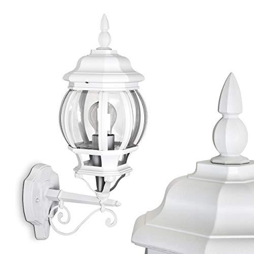 Buiten wandlamp Lentua, wandlamp naar boven in antieke look, gegoten aluminium in wit m. kunststof ruiten, wandlamp met E27 stopcontact, 60 Watt, retro/vintage buitenlamp voor terras, veranda en binnenplaats