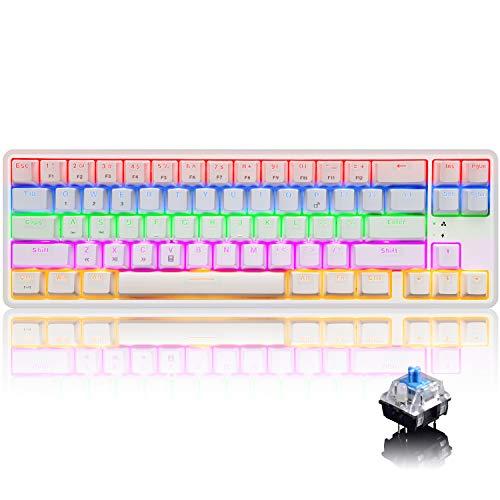 Aktualisiert Wiederaufladbare kabelgebundene / kabellose Bluetooth Dual-Mode 60% Mechanische Gaming-Tastatur Kompakt 68 Tasten Typ C LED-beleuchtete Anti-Ghosting-Tasten (Weiß / Blau-Schalter)