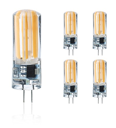 g4 led 230V Stiftsockellampe dimmbar warmweiß, 5er Pack, 5W Ersetzt 40W leuchtmittel,400lm,3000K,COB,LED Lampen,Stiftlampe. >Bitte Beachten< 230V Leuchtmittel nicht geeignet für 12V Trafo Lampen