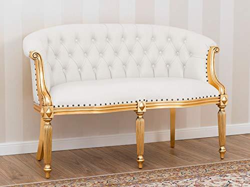 SIMONE GUARRACINO LUXURY DESIGN Sofá Isabelle Estilo Barroco Francese 2 plazas Color Hoja Oro Eco-Piel Blanca Botones Crystal Sw