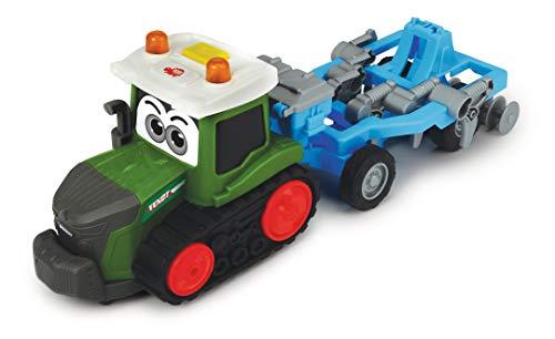 Dickie Toys Happy Fendt Plow, Traktor mit Pflug, Pflug bewegt sich beim Fahren auf und ab, Anhänger von Zugmaschine trennbar, Spielauto für Kinder ab 1 Jahr, Trecker, Bauernhof, Licht & Sound, 30 cm