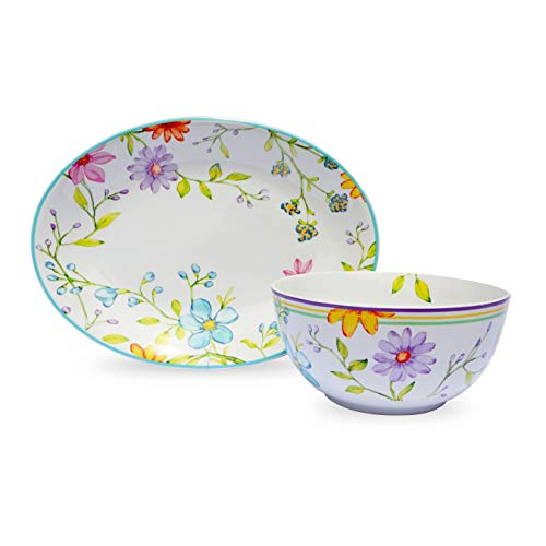 Euro Ceramica Charlotte Collection Stoneware Entertaining Serveware, 2 Piece Set, Watercolor Floral/Garden Design, Multicolor